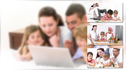 Animation of a smiling family using a laptop