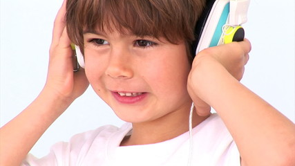 Animation of a little boy listening music