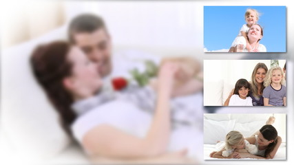 Montage of couple and families relaxing
