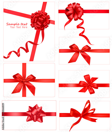 Collection of red bows. Vector. - 28866809