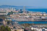 Barcelonas Port Vell bird eye view from Montjuic mount, Spain poster