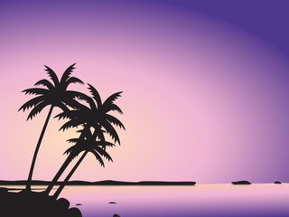 Illustration of silhouetted tropical palm trees on island