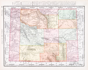 Antique Vintage Color Map of Wyoming, WY, USA