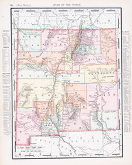 Antique Vintage Color Map of New Mexico, NM, United States, USA