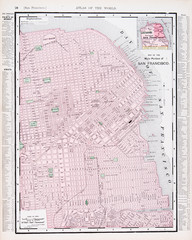 Antique Color Street City Map San Francisco California USA