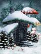 Zimowa sceneria z chatką elfów