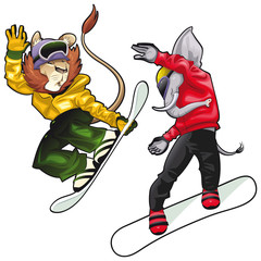 Savannah animals on snowboard. Vector isolated characters.