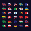 large set of flags
