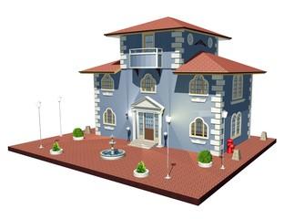 Municipio Edificio Pubblico-Town Hall-3D