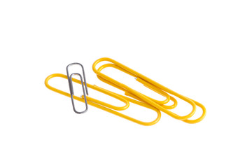 Yellow Paper clips isolated on white background
