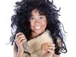 Leinwanddruck Bild - neandertaler kind mit walnuss und stein