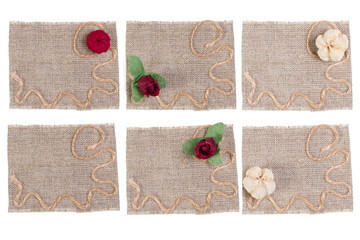 set of sackcloth tags with