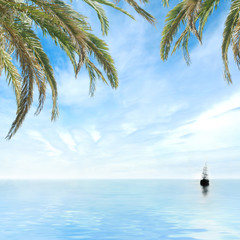 Romantic tropical view of a small boat sailing in a blue sea