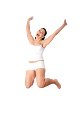 Happy young woman in air