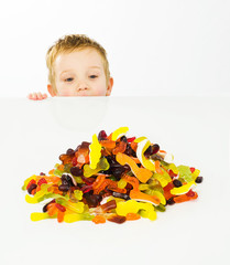 Tempting child with sweets