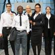 An international business team on a modern background