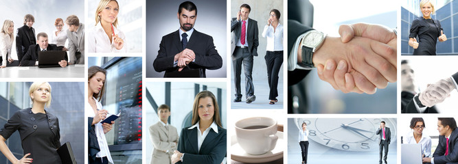 A collage of many different young business people