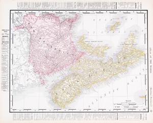 Antique Color Map Canadian Maritime Provinces,  NB  NS Canada