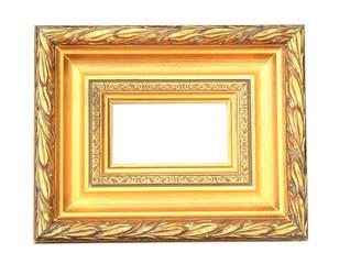 vintage golden frame on white isolated background .