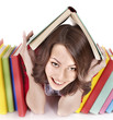 Girl with pile color book. Isolated.