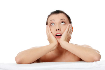 Amazed beautiful caucasian woman after bath