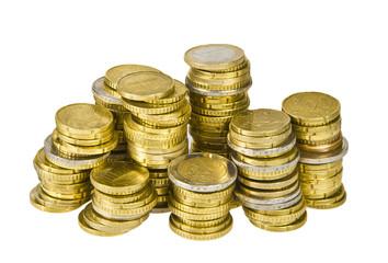 Euro Geldstücke gestapelt