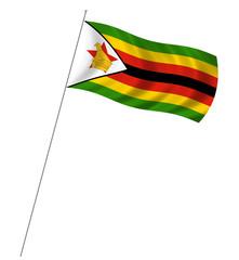 Flag of Zimbabwe with pole flag waving over white background