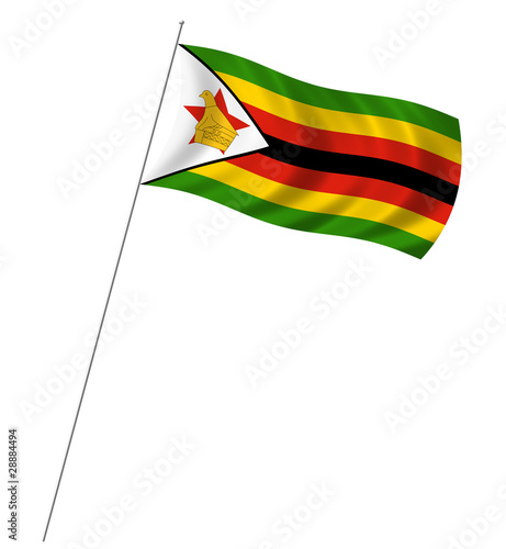 ... : Flag of Zimbabwe with pole flag waving over white background