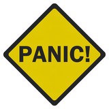 Photo realistic 'panic' sign, isolated on white
