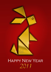 2011, metal-rabbit year, tangram, red background