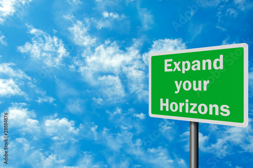 Photo realistic 'expand your horizons' sign, with space for text