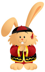 Cute cartoon bunny wearing a traditional Chinese outfit