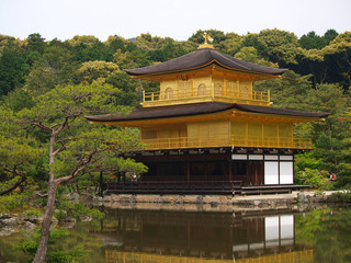 Famous Kinkakuji - Golden Pavilion in Kyoto Japan