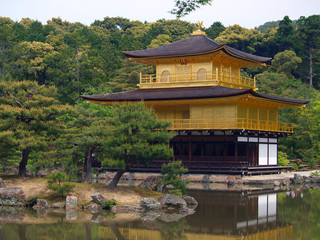 Famous Kinkakuji - Golden Pavilion In Kyoto Japan