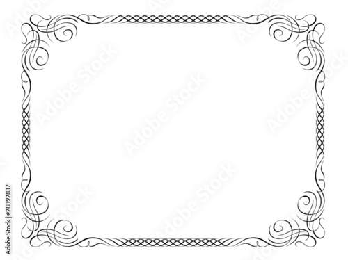 Vector calligraphy ornamental penmanship decorative frame