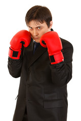 Confident young businessman with boxing gloves isolated