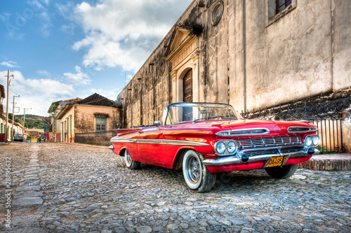 Fotobehang Centraal-Amerika Landen Red Chevrolet