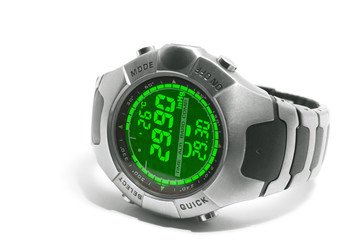 Electronic watch with thermometer and barometer