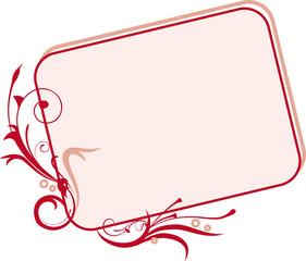 Rosa Karte mit rotem Rand und Dekor