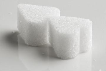 White Sugar in heart shape.