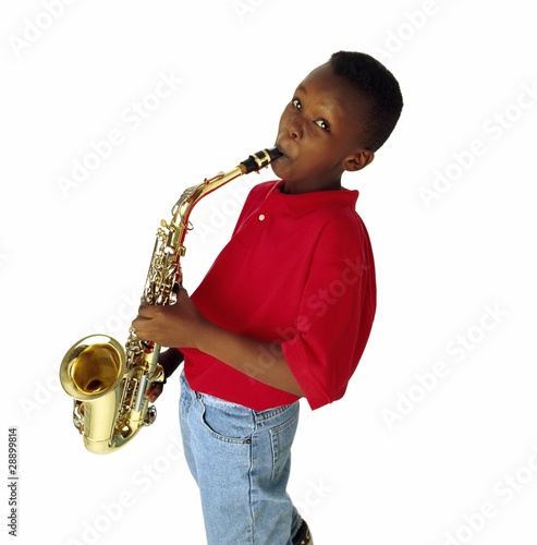 Boy Playing The Saxophone