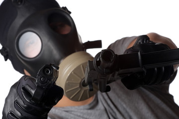 Terrorist Man Pointing Guns