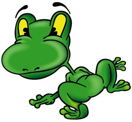 Frog from the Back - colored cartoon illustration