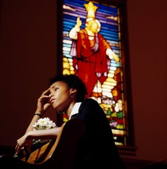Woman Thinking In A Church