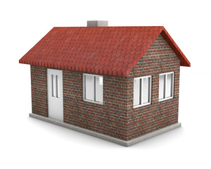 isolated house with brick