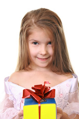 Girl in festive dress with gift