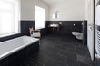 Leinwandbild Motiv badezimmer mit schieferboden
