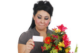 Woman thrilled to recieve flowers poster
