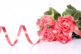 Fototapety bouquet de rose et ruban