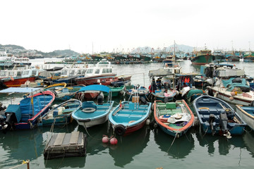 Fishing and house boats anchored in Cheung Chau